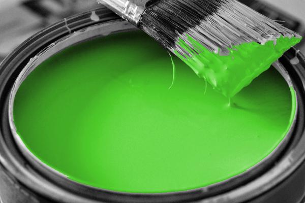 bucket of green paint